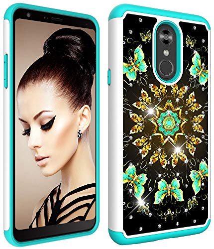 - Wiitop For LG Stylo 4 Case,LG Q Stylus Case [Heavy Duty] Tough Dual Layer 2 in 1 Rugged Rubber Hybrid Hard Plastic Soft TPU Impact Back Protective Cover Coloured Drawing with Bling Diamond Butterflies