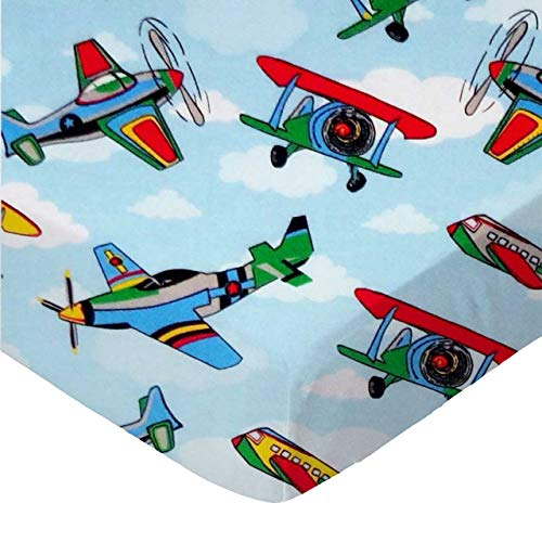 (SheetWorld 100% Cotton Percale Fitted Crib Toddler Sheet 28 x 52, Kiddie Airplanes, Made in USA)