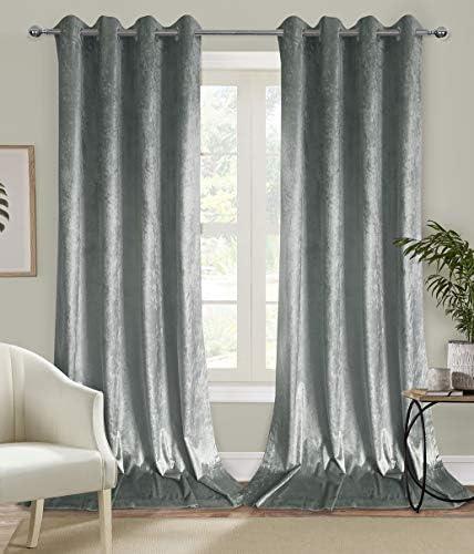 Always4u Shimmery Privacy Light Blocking Velvet Curtains 108 Inches Length Soft Luxury Grommet Drape