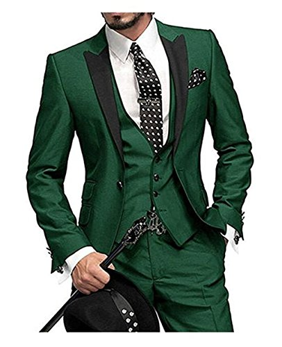 Onlylover One Button 3 Piece Green Wedding Suits for Men Notch Lapel Men Suits Groom Tuxedos (Jacket+Pants+Vest,M) (Lapel Vest Notch)