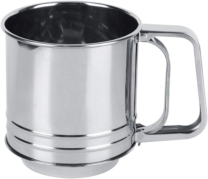 Handheld Stainless Steel Flour Sifter Manual Sieve Strainer Baking Accessories for Home Kitchen or Bakery