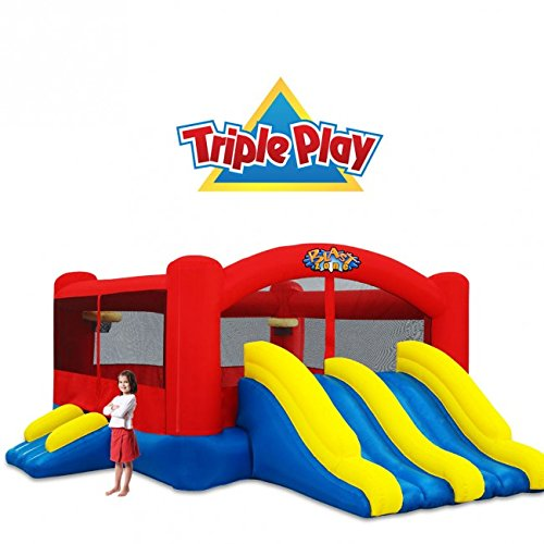 - Blast Zone Triple Play Moonwalk Double Slide Combo Bouncer
