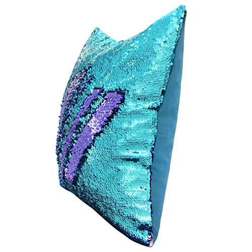 J-hong Mermaid Throw Pillow with Insert,Two-Color Heart Shape Reversible Sequins Decorative Pillow Pink+Gold Pink+Gold GREAT JING TP-01-4 13/×15 Two-Color Heart Shape Reversible Sequins Decorative Pillow 13/'/'/×15/'/'