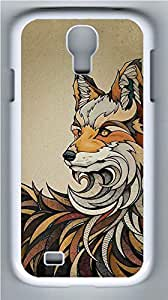 Galaxy S4 Case, Personalized Protective Hard PC White Edge Fox Case Cover for Samsung Galaxy S4
