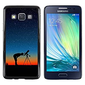 QCASE / Samsung Galaxy A3 SM-A300 / cielo telescopio noche protagoniza Perfil del hombre puesta de sol / Delgado Negro Plástico caso cubierta Shell Armor Funda Case Cover