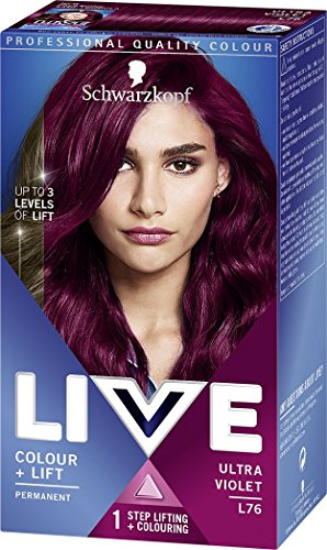 Schwarzkopf LIVE Intense Colour + Lift Permanent L76 Ultra Violet - Pack of...
