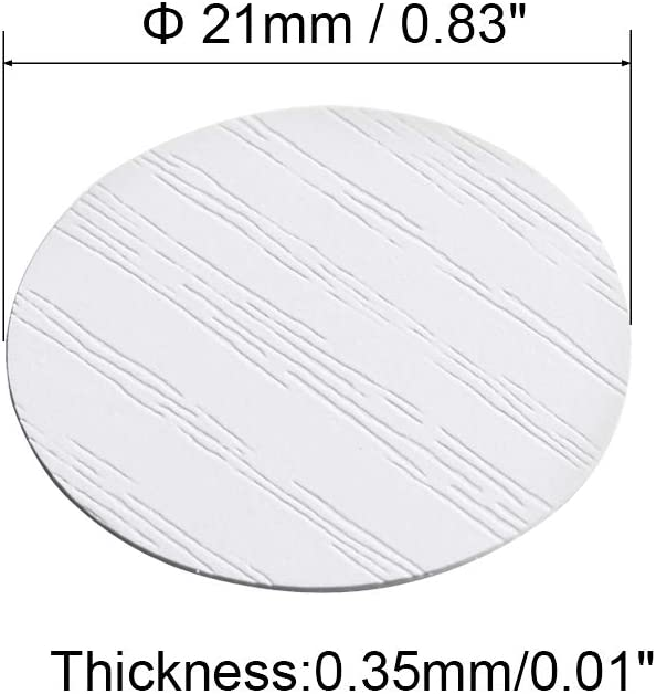uxcell Self-Adhesive Screw Hole Stickers,3-Table Self-Adhesive Screw Covers Caps Dustproof Sticker 21mm 54 in 1 White Maple Wood