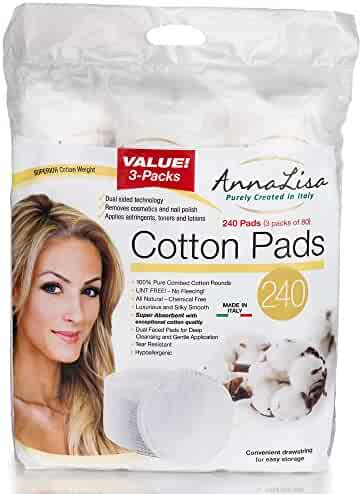 Italian 100% Natural Pure Premium Combed Cotton Rounds Facial Cleansing Cotton Pads 240 Count (3 pack of 80)