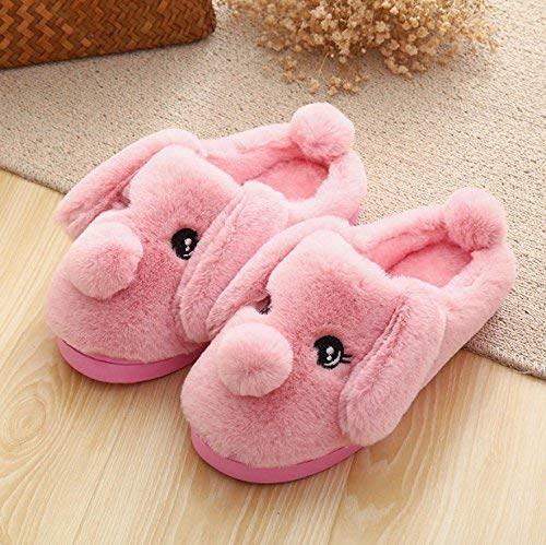 Pink Lady Slippers Women Home Slippers Indoor Cotton Cute Solid color Rabbit Cartoon Pattern with Tail Girlish Stylish Fashion Casual Leisure Slippers