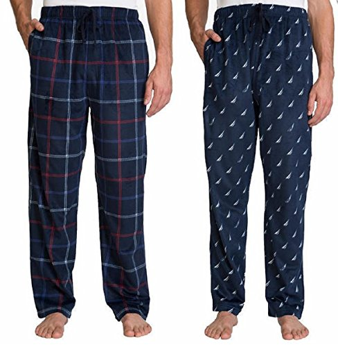Mens Suede Pants (Nautica Men's 2 Pack Soft Suede Fleece Pajama Pants Bottoms (X-Large, Dark Navy Plaid/Navy Sail (99C)))