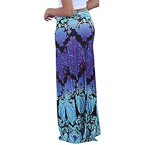 Colmkley Womens Print Boho High Waist Maxi Skirt Ladies Vintage Beach Long Skirt Purple