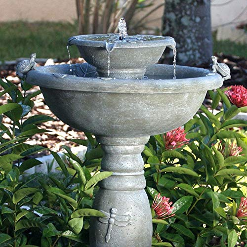 Solar Birdbath Weathered Stone - BeUniqueToday Weathered Stone Finish Outdoor Resin Solar Fountain Bird Bath, On/Off Switch Lets You Decide When It Runs, Store Energy for Use at Night or in Cloudy Weather, Water Sound Low Weight