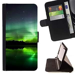 Momo Phone Case / Flip Funda de Cuero Case Cover - Aurora boreal;;;;;;;; - Samsung Galaxy Note 5 5th N9200