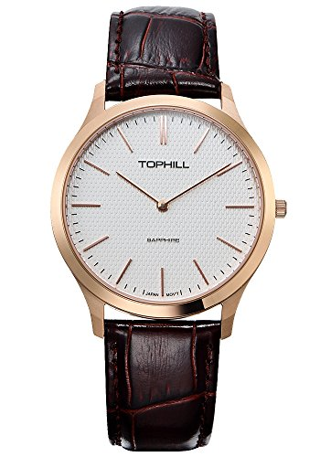 Tophill SF235 Men's Slim Quartz Watch Brown Leather White Dial Rose Gold - Uk Online Discount Watches
