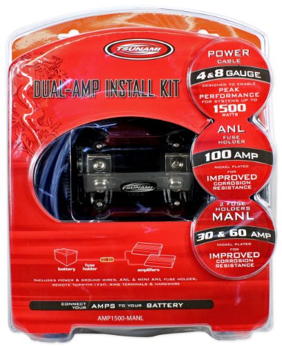 Tsunami AMP1500-MANL 4 Gauge Dual Amplifier Amp Car Audio Wire Installation Kit Designed For Systems UP To 1500 Watts