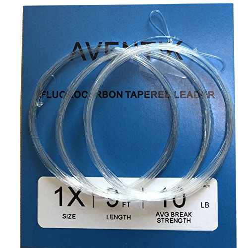 (Aventik 3 PC Pack Pro Looped Premium Fluorocarbon Tapered Leader Freshwater/Saltwater 9ft Fly Fishing X0 to X7 (0X-10.63LB))
