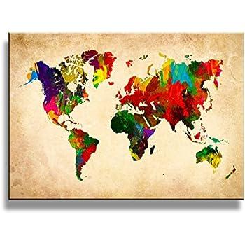 Amazon.com: yixuanwall art -canvas Prints, world map Wall Art oil ...
