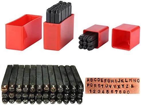 36本/セット 炭素鋼パンチ カーボンスチールナンバーアルファベットパンチメタルスタンプツールキット+ケース