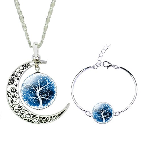 Women Charm White Floral Lucky Tree Time Gem Bracelet Curve Moon Pendant Necklace Jewelry Set