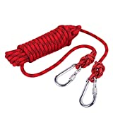 Outdoor Rock Climbing Safety Rope 20M(66ft) with Hooks, Diameter 8mm(0.03ft), 9KN(900kg), for Outdoor Escape Rope, Camping Hiking Rope, Fire Rescue Parachute