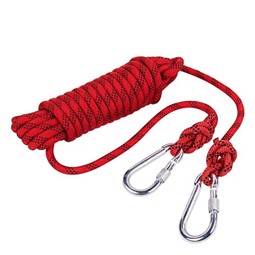 Outdoor Rock Climbing Safety Rope 10M(32ft)/15M(49ft)/20M(64ft)/30M(98ft) with Hooks,Diameter 8mm(0.03ft),9KN(900kg),for Outdoor Escape Rope, Camping Hiking Rope, Fire Rescue Parachute