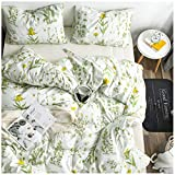 Elephant Soft Queen Duvet Cover Set, Premium Microfiber, Summer Flowers and Plants Pattern On Comforter Cover-3pcs:1x Duvet Cover 2X Pillowcases,with Zipper Closure (Full/Queen)