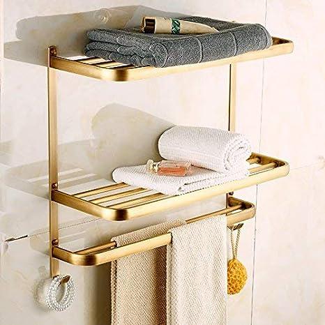 Hamhsin Stainless Steel Wall Mounted Bathroom Towel Rack Brushed Towel Shelf towel holder Hotel Rail Shelf Storage Holder 50cm
