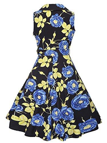 Feoya Vestido de Solapa Estilo Retro Vintage de los Años 50 sin Mangas Pin UP Estampado de Flores para Mujer Azul
