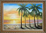 Framed Oil Painting 24''x36'' Beautiful Beach Palm Trees on Sunset Hawaii Seascape America Naturalism Stylish Frame