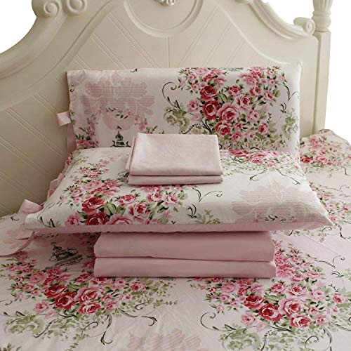 Laura Ashley Cotton Sheets - FADFAY Rose Floral 4 Piece Bed Sheet Set 100% Cotton Deep Pocket-Queen