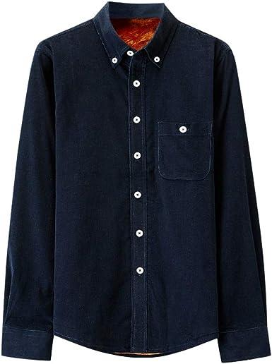 Camisa de Pana cálido de Hombres Manga Larga Blusa de botón Top Casual Terciopelo Sueltos Tallas Grandes Abrigo de Color sólido Otoño Invierno Gusspower: Amazon.es: Ropa y accesorios