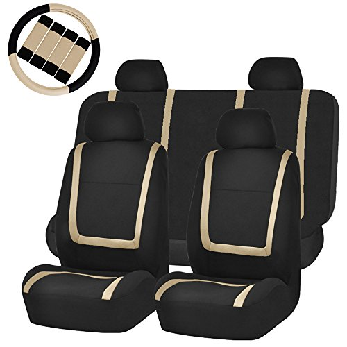 - FH Group FH-FB032114 Unique Flat Cloth Car Seat Covers with FH2033 Steering Wheel Cover and Seat Belt Pads, Beige/Black- Fit Most Car, Truck, Suv, or Van