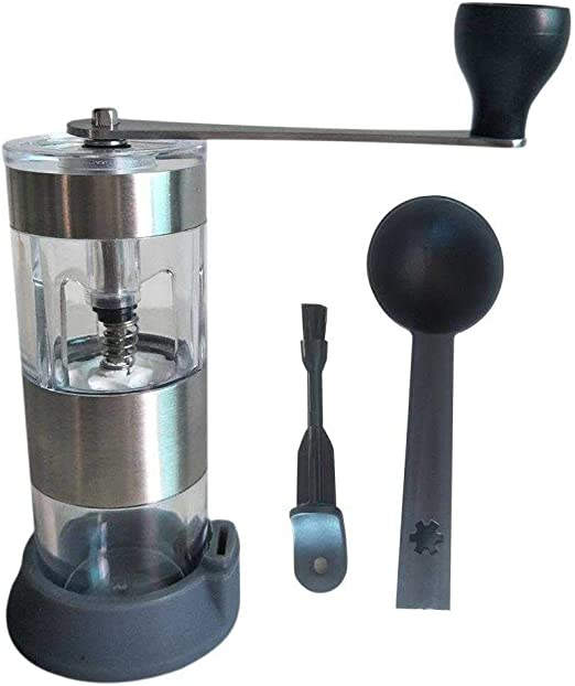French Press Drip Coffee Espresso Turkish Brew /… Manual Coffee Grinder with Adjustable Ceramic Conical Burr Brushed Stainless Steel Hand Crank Mill Best for Aeropress