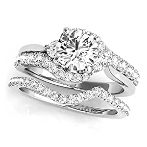 1.25 Ct. Halo Antique Design Engagement Bridal Set Diamond Ring Crafted In 14k Solid White Gold