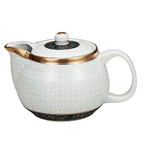 (Japanese Ceramic Porcelain kutani ware. Japanese kyusu teapot. White. Shippou.