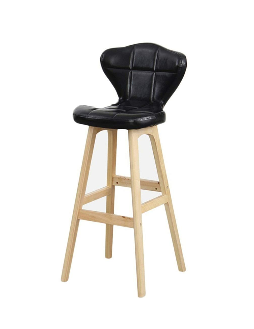Wpjpzwj777 Bar Chair with Backrest, PU Leather + Wooden Legs, Long Service Life, Nordic Minimalist Design, Suitable for All Occasions, There are Many Styles to Choose from (Color : 3) by Wpjpzwj777