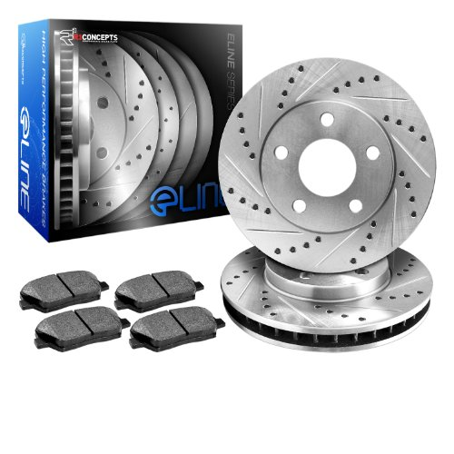 R1 Concepts KEDS11118 Eline Series Cross-Drilled Slotted Rotors And Ceramic Pads Kit - Rear by R1 Concepts