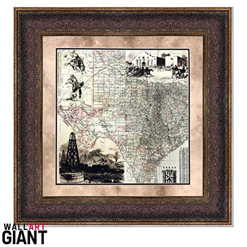 Wall Art Giant ANTIQUE MAP OF TEXAS - HISTORIC ART - DOUBLE MAT - 32X32 ()