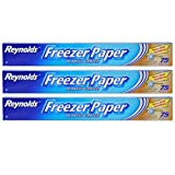 Reynolds Freezer Paper Plastic Coated 16 2/3 yds x 18in Roll (75sq ft. ) Pack of 3