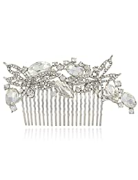 Ever Faith Elegant 2 Dragonfly Wedding Hair Comb Clear Austrian Crystal Silver-Tone N03617-1