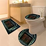 3 Piece Bath mat set Photo of Antique Aged Wooden Door of a Dark Haunted Old Style Night Theme Extralong Bathroom Rugs Contour Mat Lid Toilet Cover