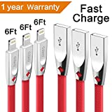 Iphone Charger Cable,Gihery iphone cable zinc 6ft 3pack 8pin iphone Charger USB to Lightning Cable Compatible with iphone X/8/8plus/7/7plus/6s/6s Plus/6/6 Plus/5/5S/SE/iPad and more(red)