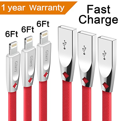 Iphone Charger Cable,Gihery iphone cable zinc 6ft 3pack 8pin iphone Charger USB to Lightning Cable Compatible with iphone X/8/8plus/7/7plus/6s/6s Plus/6/6 Plus/5/5S/SE/iPad and more(red) by Gihery