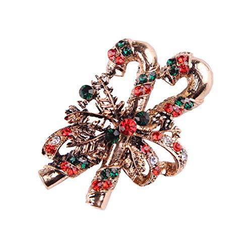 BESTOYARD Broche navideño de Cristal de Navidad Broche de Diamantes de imitación Pin de Broche de joyería del Partido...