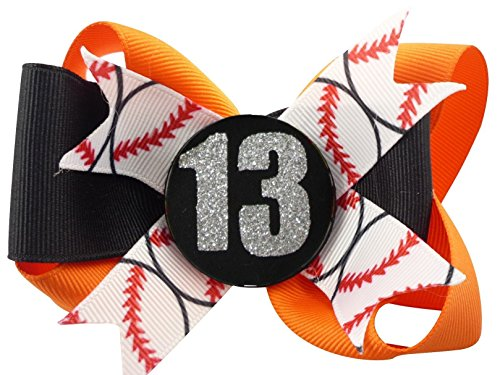 Baseball Glitter Bow for Girls Hair Personalized with Player Number by Bow Flip Flops