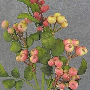 Factory Direct Craft Cream and Pink Artificial Hypericum Berry Stem 104