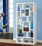Coaster Home Furnishings  Modern Contemporary 10 Shelf Organizer Storage Bookcase - White