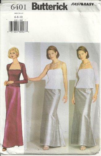 Butterick patrones de costura para 6401 Formal Top, falda, Bolero ...