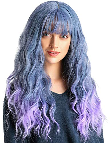 TopWigy Long Curly Wavy Wigs with Bangs Synthetic Heat Resistant Full Hair Wig for Women Cosplay Costume Party Wig Fluffy Wig Blue for Girls