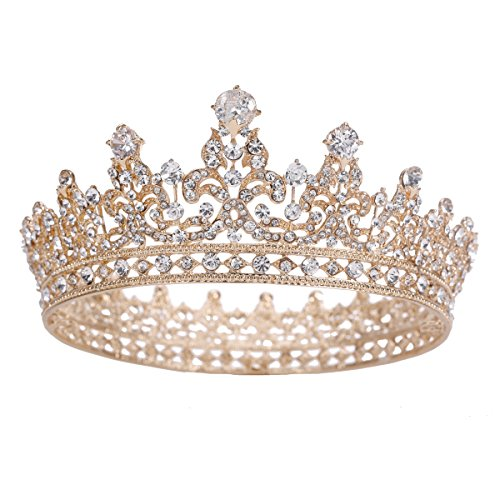 Gold Plated Crown (Stuff Zircon Crystal Rhinestone Bridal Tiara Crown Wedding Hair Accessories Bride Princess Full Crown (Gold-plated))